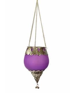 Závěsný skleněný svícen, fialový, kovové zdobení, 14x10cm