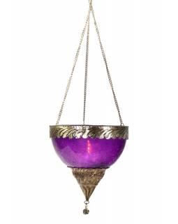 Závěsný skleněný svícen, fialový, kovové zdobení, 12x12cm