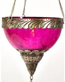 Závěsný skleněný svícen, růžový, kovové zdobení, 12x12cm