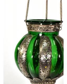 Kovová prosklená lampa v orientálním stylu, zelené sklo, ruční práce, 19x32