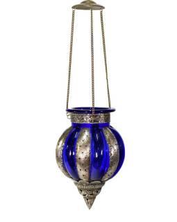 Kovová prosklená lampa v orientálním stylu, modré sklo, ruční práce, 19x32cm