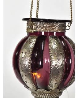 Kovová prosklená lampa v orientálním stylu, vínová barva, ruční práce, 19x32cm