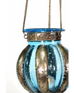 Kovová prosklená lampa v orientálním stylu, světle modrá, ruční práce, 19x32cm