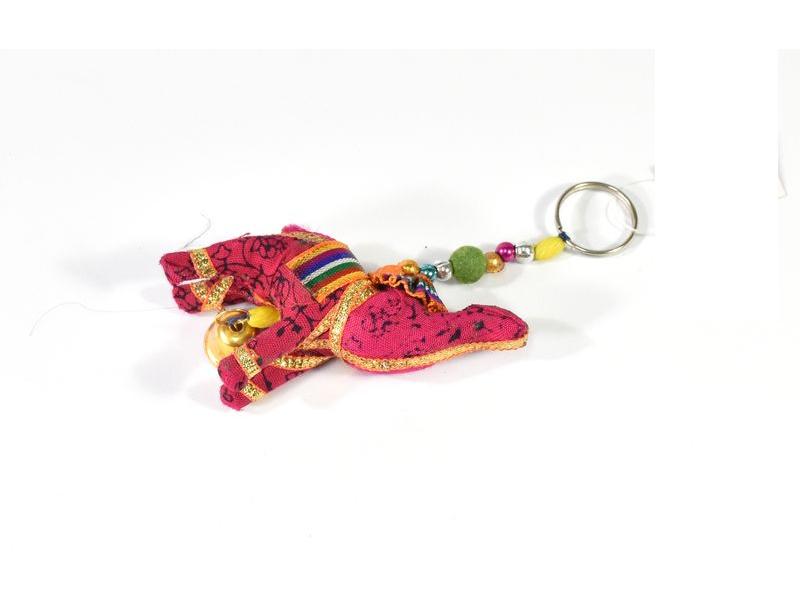 Dekorace k zavěšení, jeden růžový slon, zvoneček, délka 13cm