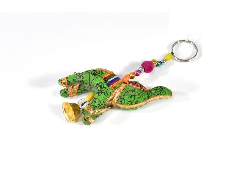 Přívěsek na klíče slon se zvonečkem, zelený, 9x6 cm