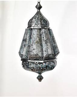 Kovová lampa v arabském stylu, černo stříbrná, uvnitř tyrkysová, 35x35x56cm