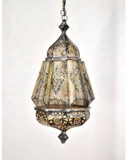 Kovová lampa v arabském stylu, černo stříbrná, uvnitř žlutá, 35x35x56cm