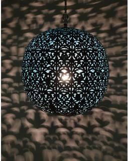 Kovová lampa v arabském stylu, černá, uvnitř tyrkysová, průměr 40, výška 45cm