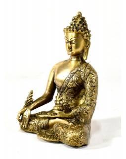 Soška Buddha medicíny (medicine), mosaz, zlatá úprava, 24x16cm