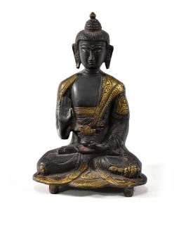 Buddha Amoghasiddhi, mosazná soška, zlatočerná úprava, 17x11cm