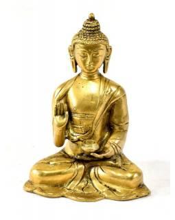Buddha Amoghasiddhi, mosazná soška, zlatá úprava, 15x11cm