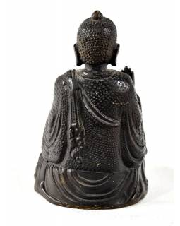 Buddha, mosazná soška, černo zlatá úprava, 15x9cm