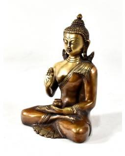 Buddha Amoghasiddhi, mosazná soška, zlatá úprava, 19x14cm