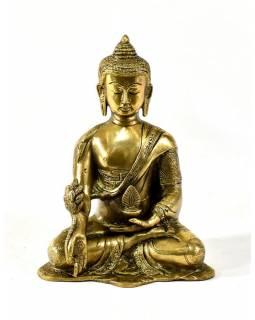 Buddhy medicíny, mosazná soška, zlatá úprava, 20x16cm