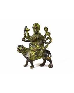 Durga, mosazná soška, zelená patina, 11x9cm