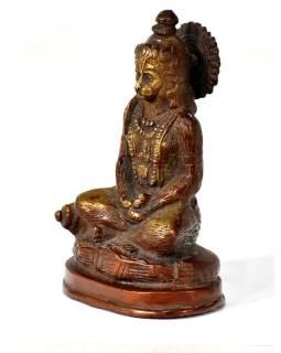 Hanuman, mosazná soška, měděná úprava, 13x9cm