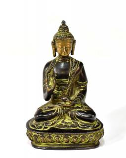 Buddha Amoghasiddhi, mosazná soška, zelená patina, 14x10cm