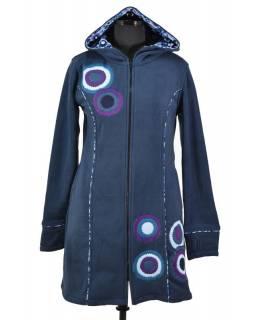 Kabátek s kapucí, modrý, fialové kruhové aplikace, Bubbles tisk, zapínání na zip