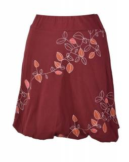 """Krátká vínová balonová sukně, """"Leaves"""" design, cihlový potisk a výšivka"""