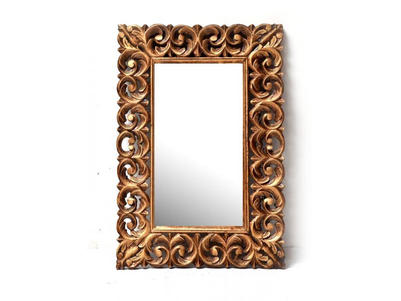 Zrcadlo ve vyřezávaném rámu, zlaté, mango, 61x88x3cm