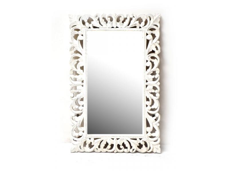 Zrcadlo ve vyřezávaném rámu, bílé, mango, 58x89x3cm