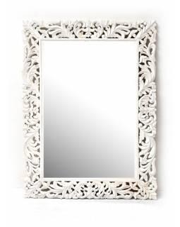 Bílé ručně vyřezávané zrcadlo z mangového dřeva, 90x120x4cm