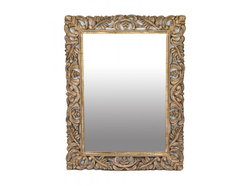 Ručně vyřezávaný rám se zrcadlem z mangového dřeva, 91x121x4cm