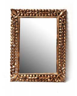 Zlaté ručně vyřezávané zrcadlo z mangového dřeva, 91x120x4cm