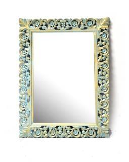 Tyrkysové ručně vyřezávané zrcadlo z mangového dřeva, 86x117x4cm