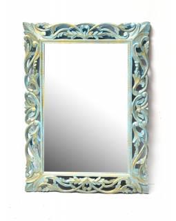 Tyrkysové ručně vyřezávané zrcadlo z mangového dřeva, 90x118x4cm