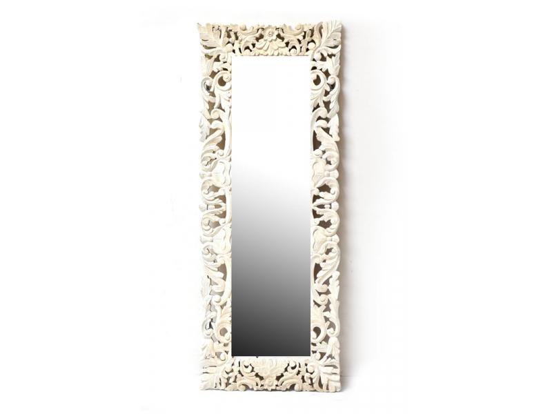 Bílé ručně vyřezávané zrcadlo z mangového dřeva, 63x161x4cm