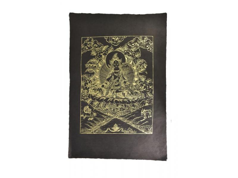 Bílá Tara, zlatý tisk na černém papíru, 50x75cm