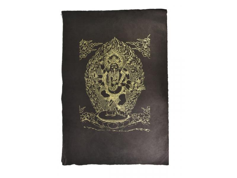 Ganeša, zlatý tisk na černém papíru, 50x75cm