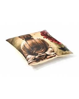 Povlak na polštář, krémový, tisk Buddha, 40x40cm