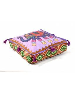 Meditační polštář, fialový, Elephant Design, čtvercový, 42x42x12cm
