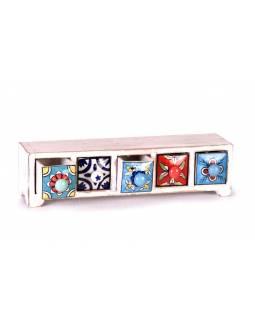 Skříňka, 5 keramické šuplíky, ručně malovaná, dřevo, 34x10x10cm