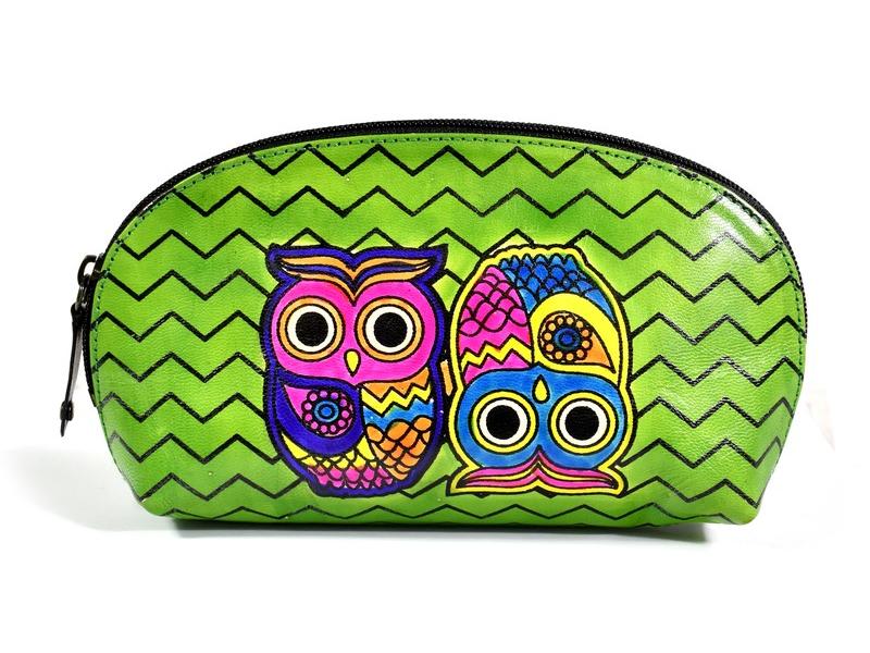 """Velký zelený neceser """"Two owls"""", ručně malovaná kůže, zip, 23x12x5cm"""