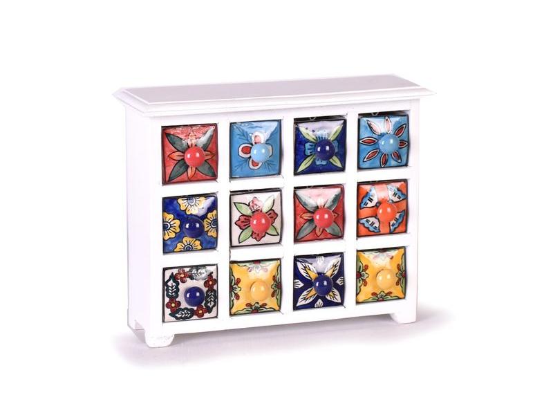 Skříňka, 12 keramických šuplíků, ručně malovaná, dřevo, 31x10x25cm
