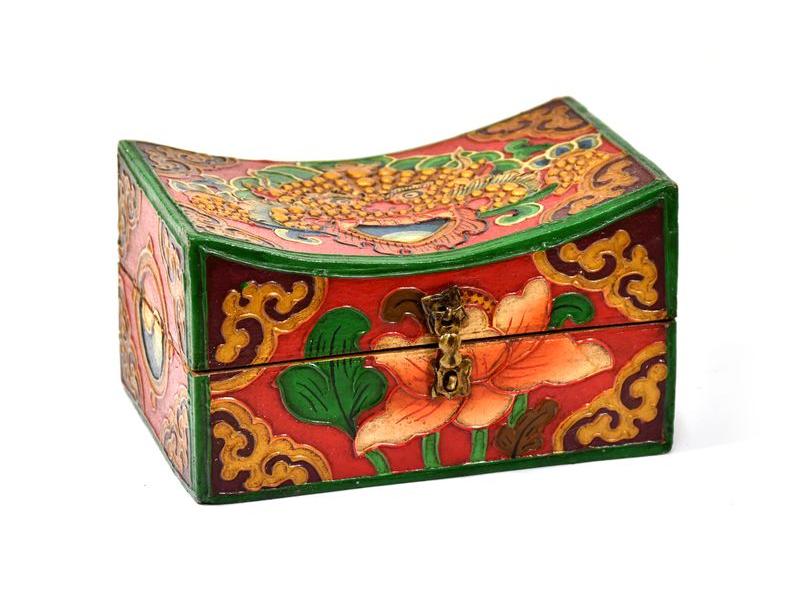 Dřevěná truhlička, tibetský design-Cheppu, malovaná, cca 21x13x13 cm