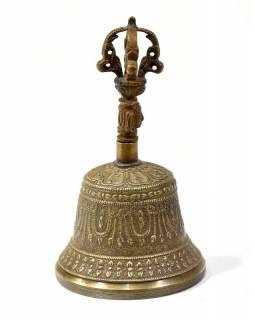 Dilbu, tibetský zvonek, zdobený, antik patina, 15cm