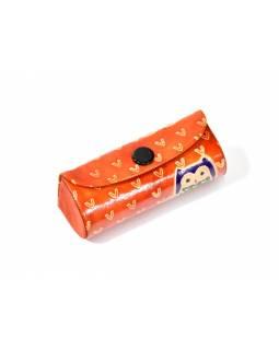 Pouzdro na rtěnku, oranžové, ručně malovaná kůže, sovy, 8x3cm