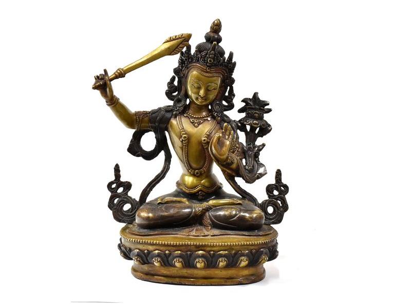 Mandžušrí, měděná soška, detailní práce, 22cm