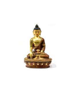 Buddha Šákjamuni, měděná soška, zlacený obličej, detailní práce, 21cm