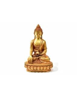 Buddha Šákjamuni, měděná soška, zlatá úprava, detailní práce, 16cm