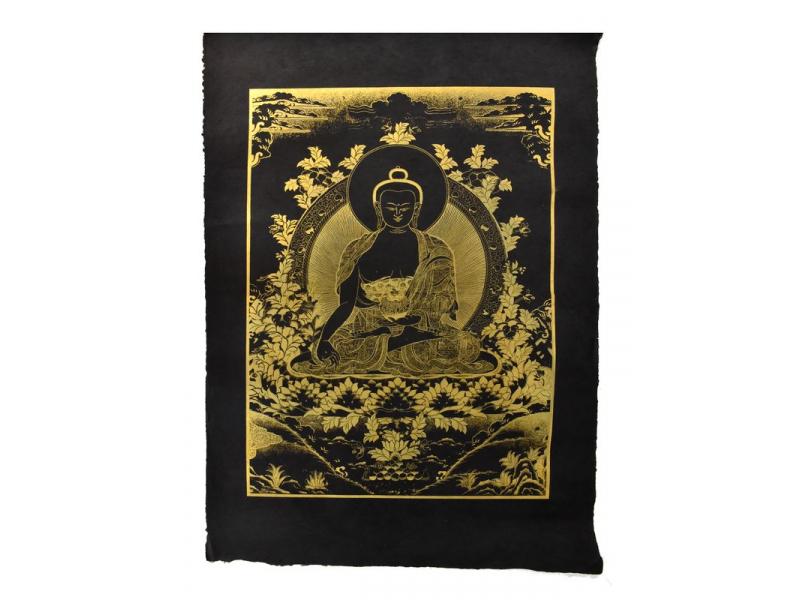Buddha Šákjamuni, zlatý tisk na černém papíru, 50x75cm