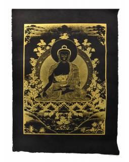 Buddha Šakjamuni, zlatý tisk na černém papíru, 50x75cm