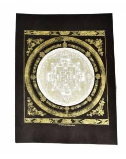Kalačakra mandala, zlatý tisk na černém papíru, bílá, 47x36