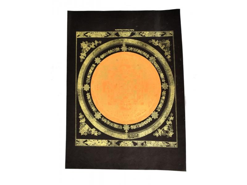 Kalačakra mandala, zlatý tisk na černém papíru, oranžová, 47x36cm