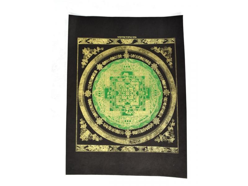 Kalačakra mandala, zlatý tisk na černém papíru, zelená, 47x36cm