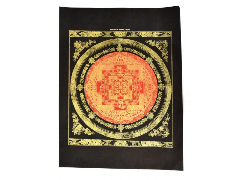 Kalačakra mandala červená, zlatý tisk na černém ručním papíru, 47x36cm